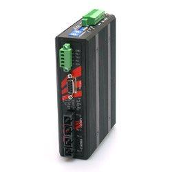 Przemysłowy konwerter z RS-232/422/485 na światłowód, 2 porty optyczne wielomodowe 2km, złącza ST, izolacja 2,5KV, rozszerzona temp. pracy -40°C ~ 75°C | STF-502C-TM02-T