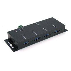 Industrial 4-Port USB3.0 Hub, Metal Case, with Locking Feature, No PA | USB-HUB4K3