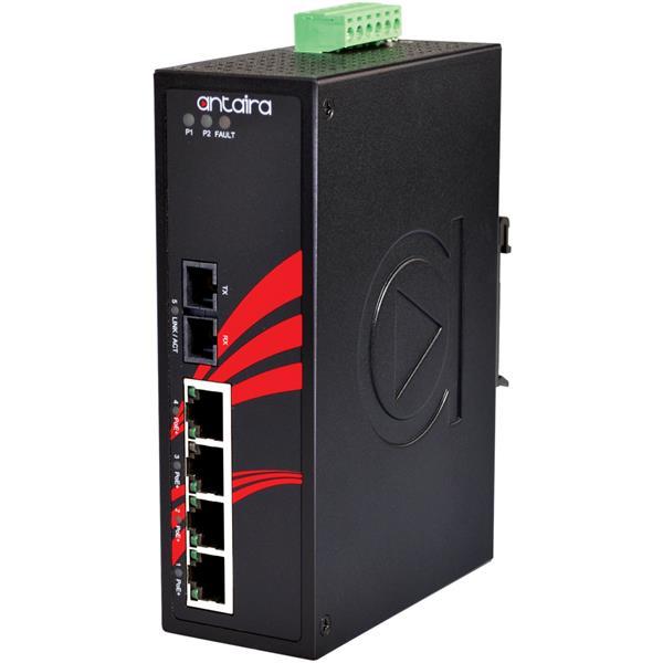 5 portowy przemysłowy switch PoE+, -40°C~+75°C, LNP-0501-S3-24-T