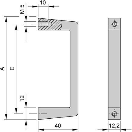 Uchwyt przedni aluminiowy 4U nVent