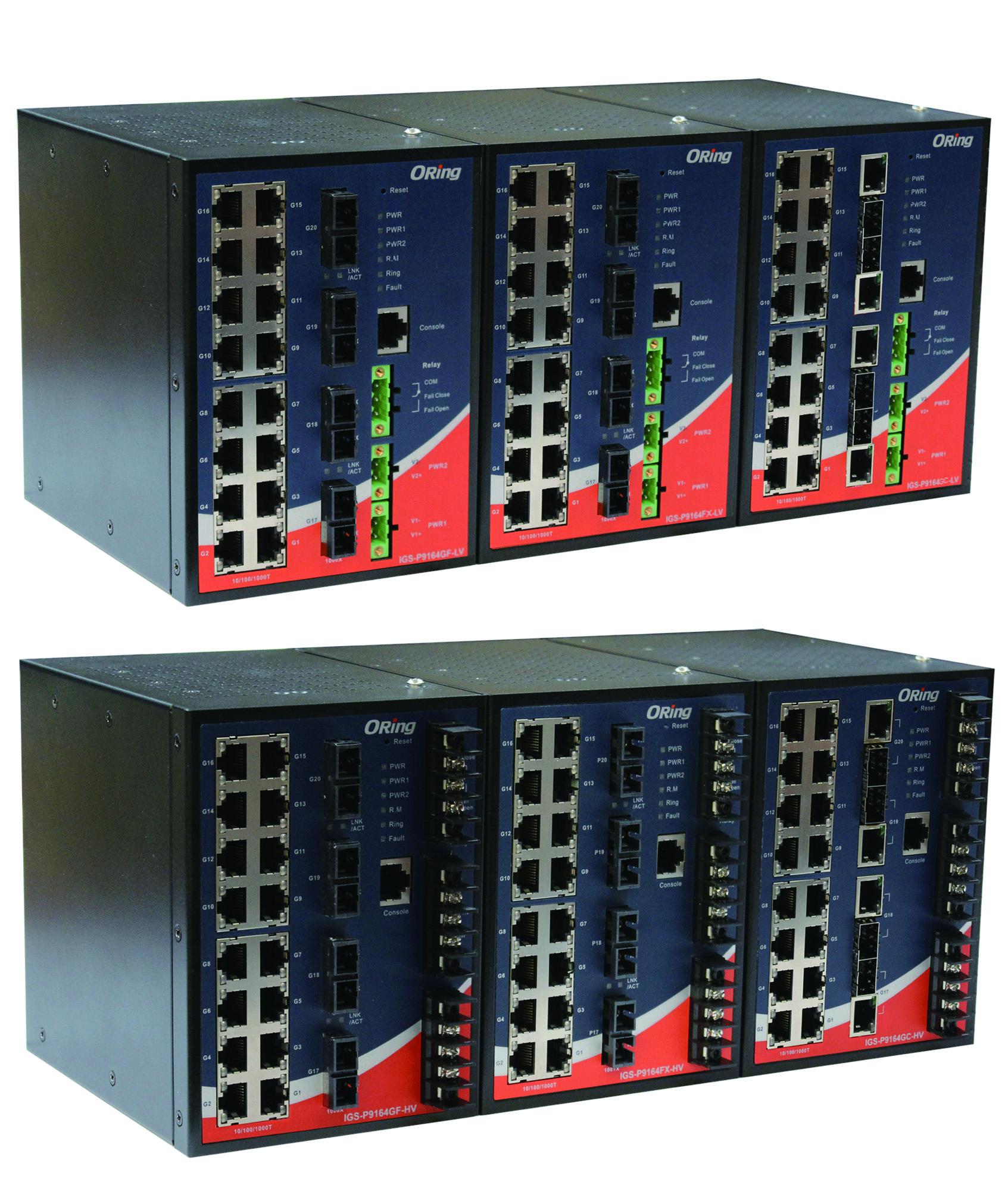 20-portowy zarządzalny Gigabit Ethernet Switch, IEC 61850-3, C1D2/ATEX – IGS-P9164FX-MM-SC-LV