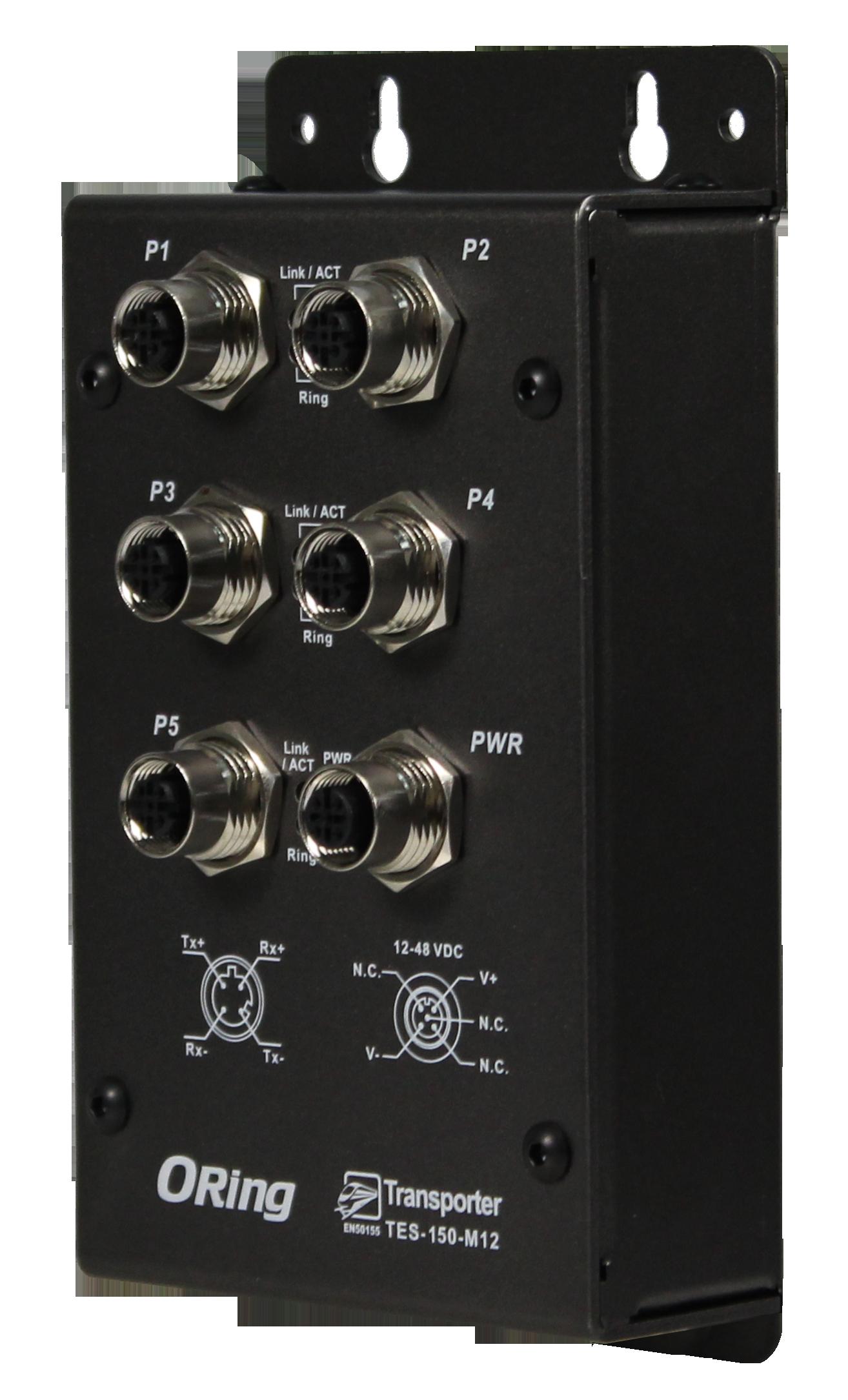 5-portowy niezarządzalny Ethernet Switch, EN50155 – TES-150-M12