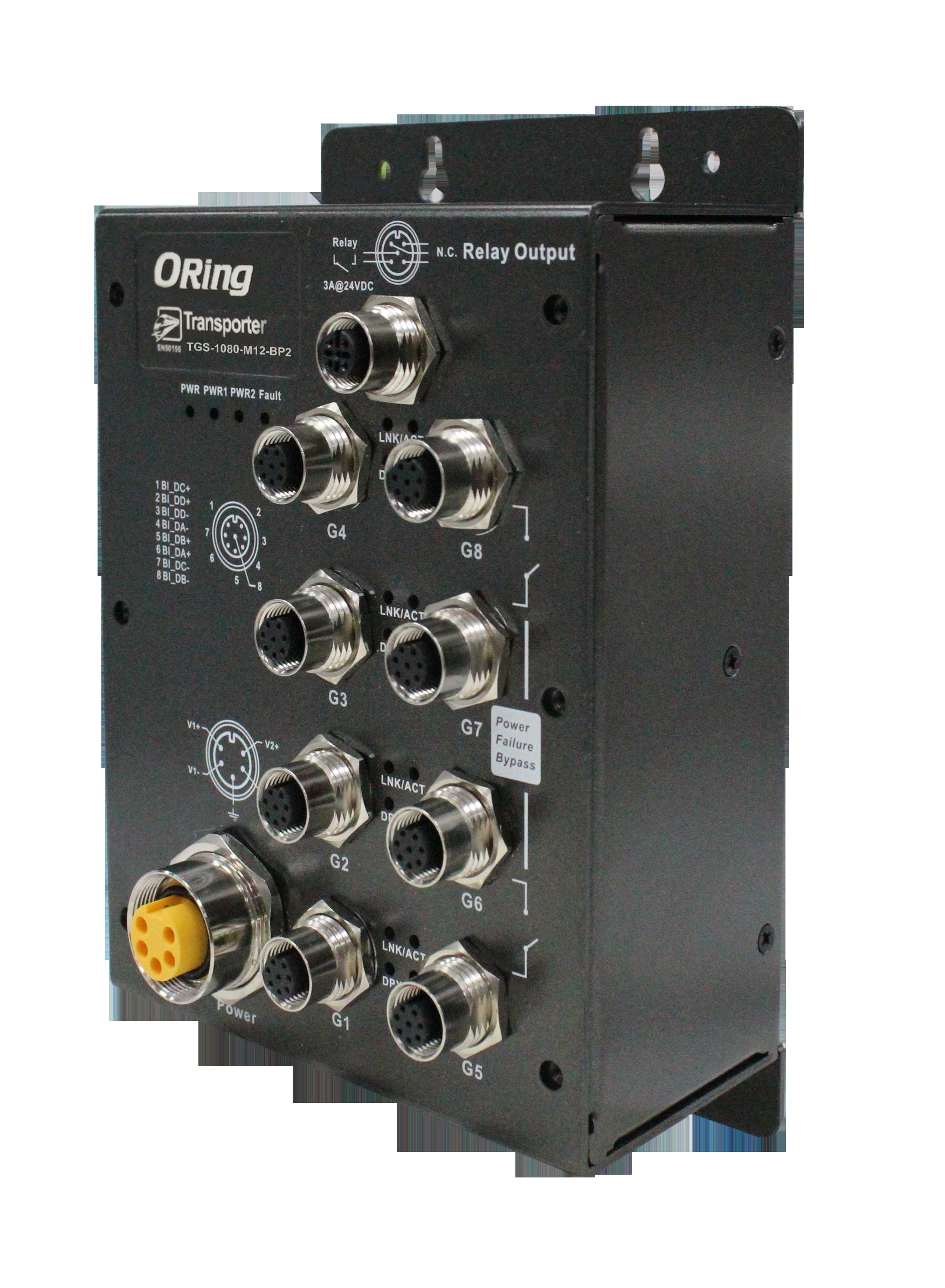 8-portowy niezarządzalny Gigabit Ethernet Switch, EN50155 – TGS-1080-M12-BP2