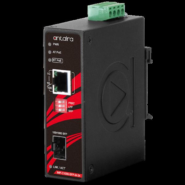 Konwerter Gigabit IEEE 802.3bt Ethernet na światłowód, IMP-C1000-SFP-BT