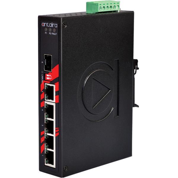 6-portowy niezarządzalny switch Gigabit Ethernet, -40°C~+75°C, LNX-0601G-SFP-T