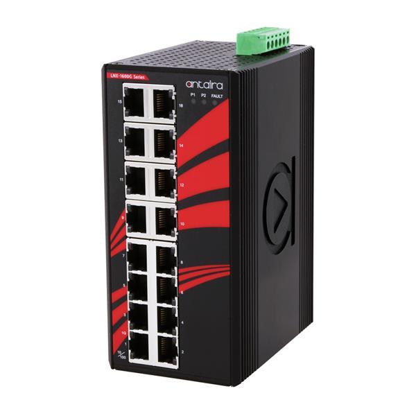 16-portowy niezarządzalny switch Gigabit Ethernet, -40°C~+75°C, LNX-1600G-T