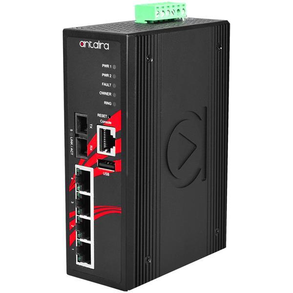5-portowy zarządzalny Ethernet PoE 10/100Mbps, -40°C~+75°C, LMP-0501-S3-24-T